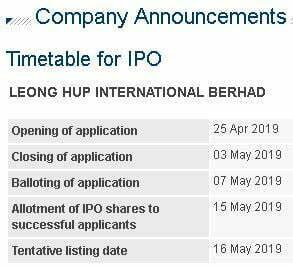 IPO Leong Hup RM1.10 Seunit Kini Dibuka, Tamat 3 Mei 2019 6