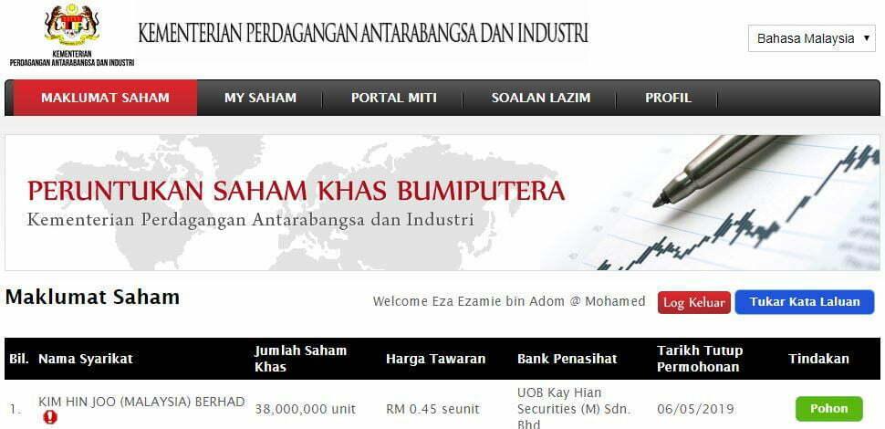 Saham Kim Hin Joo (Malaysia) Berhad Kini Boleh Dibeli Melalui MITI 6