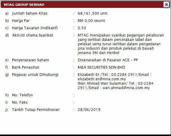 ipo mtag group miti 5 - Saham MTAG Group Boleh Dipohon di MITI Pada Harga RM0.53 Seunit