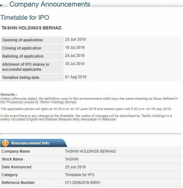 IPO Tashin Holdings Baru Dibuka, Boleh Beli Online Pada Harga RM0.58 Seunit 2