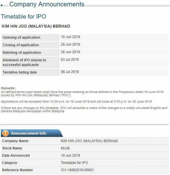 Dah Boleh Beli IPO Kim Hin Joo Pada Harga RM0.43 3