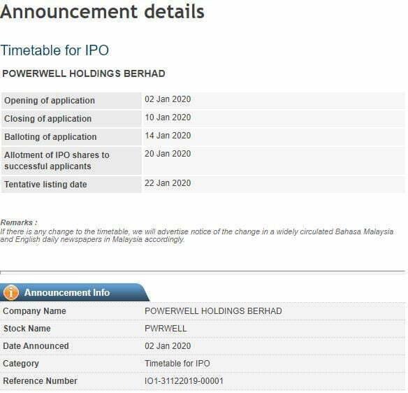 IPO Powerwell Holdings Berhad Dah Boleh Apply Online, IPO Pertama Tahun 2020 2
