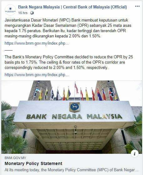 Bank Negara Malaysia Menurunkan Kadar Dasar Semalaman (OPR) Kepada 1.75% 3